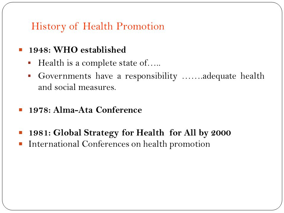History of Health Promotion