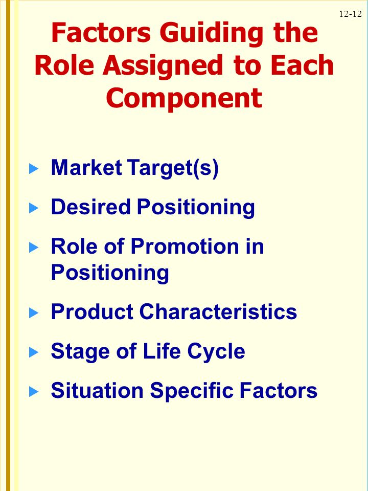 Factors Guiding the Role Assigned to Each Component