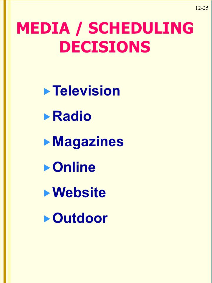 MEDIA / SCHEDULING DECISIONS