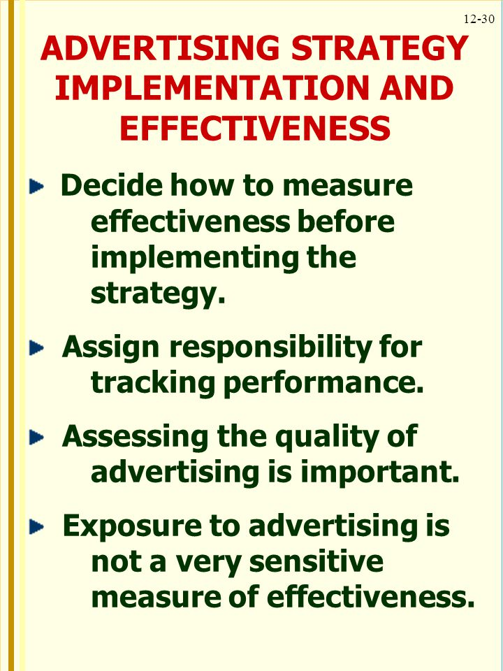 ADVERTISING STRATEGY IMPLEMENTATION AND EFFECTIVENESS