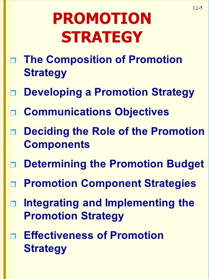PROMOTION STRATEGY The Composition of Promotion Strategy