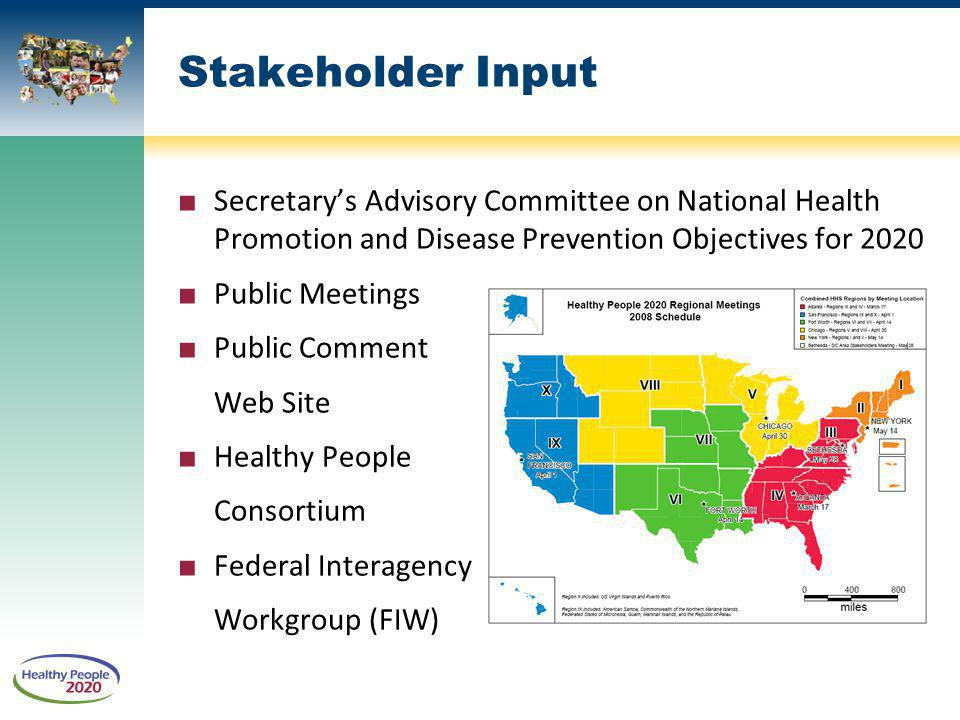 Stakeholder Input Secretary's Advisory Committee on National Health Promotion and Disease Prevention Objectives for