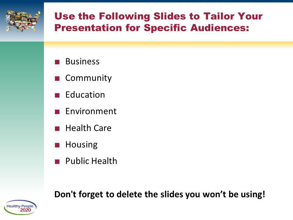 Use the Following Slides to Tailor Your Presentation for Specific Audiences: