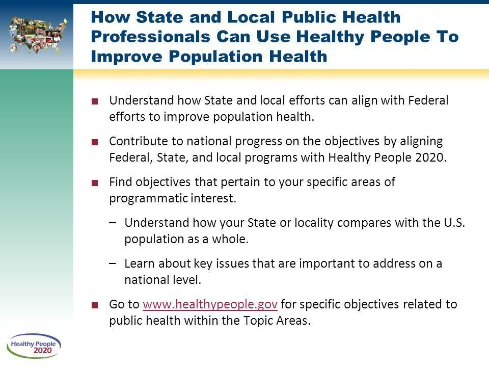 How State and Local Public Health Professionals Can Use Healthy People To Improve Population Health