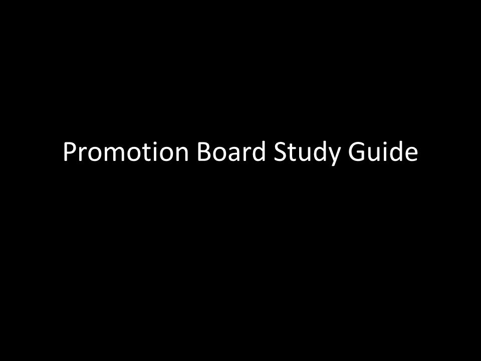 Promotion Board Study Guide