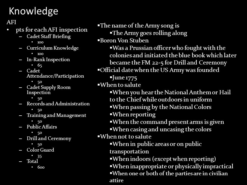 Knowledge AFI The name of the Army song is pts for each AFI inspection