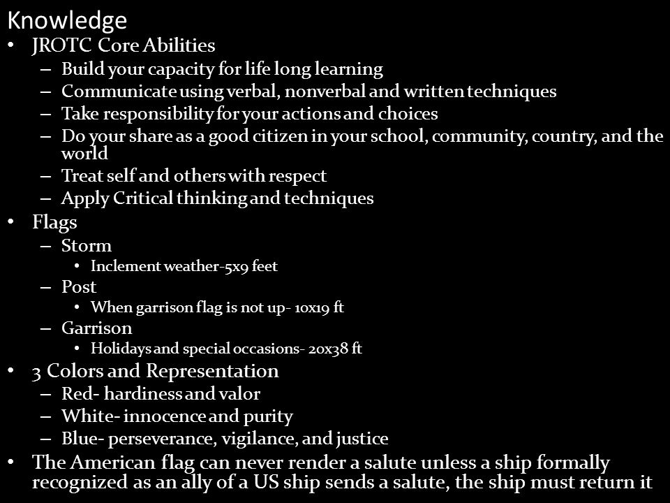Knowledge JROTC Core Abilities Flags 3 Colors and Representation