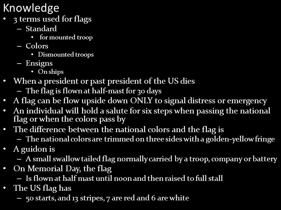 Knowledge 3 terms used for flags