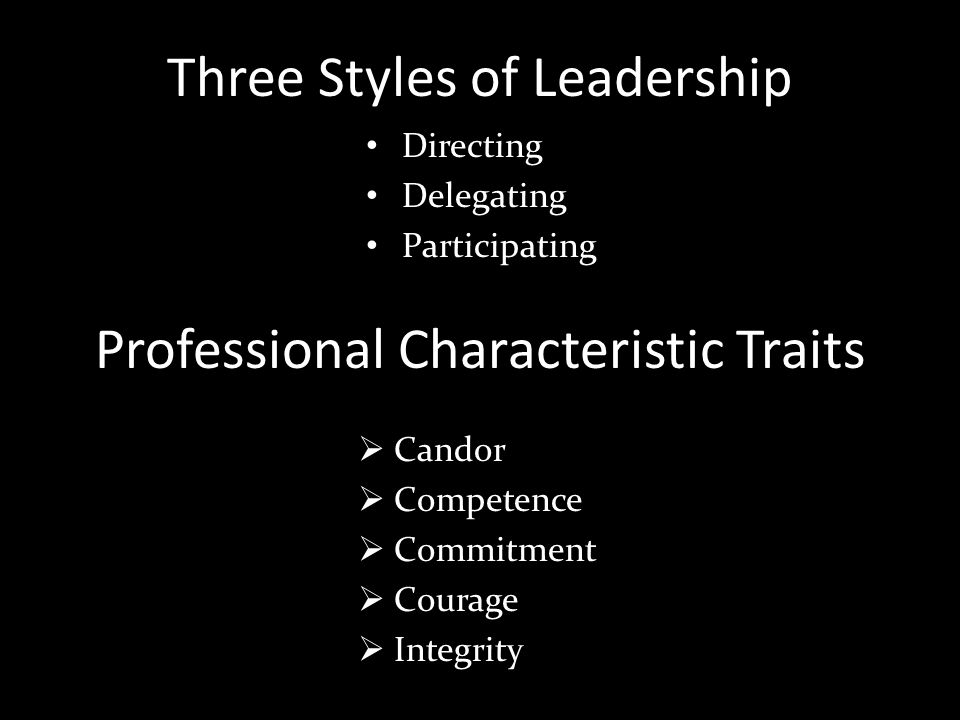 Three Styles of Leadership