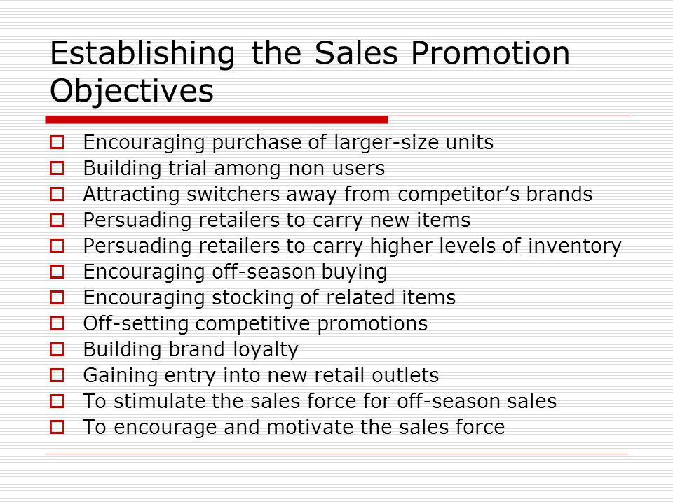 Establishing the Sales Promotion Objectives