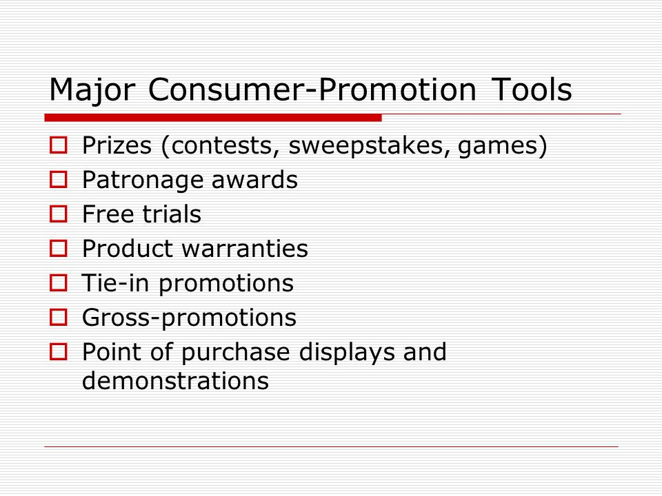 Major Consumer-Promotion Tools