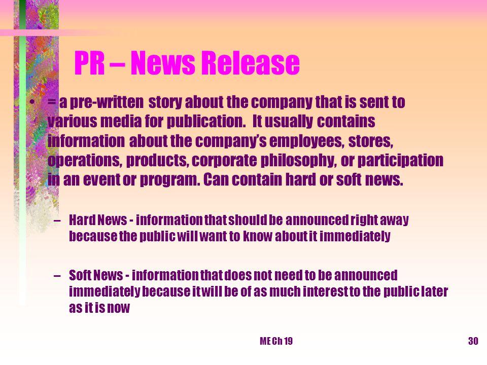 PR – News Release