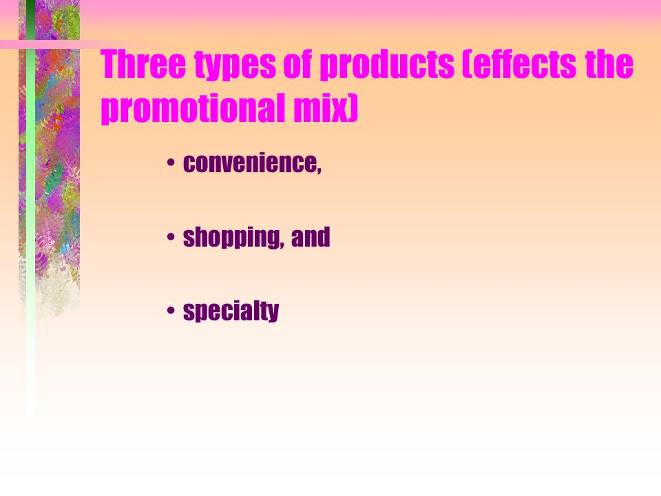 Three types of products (effects the promotional mix)