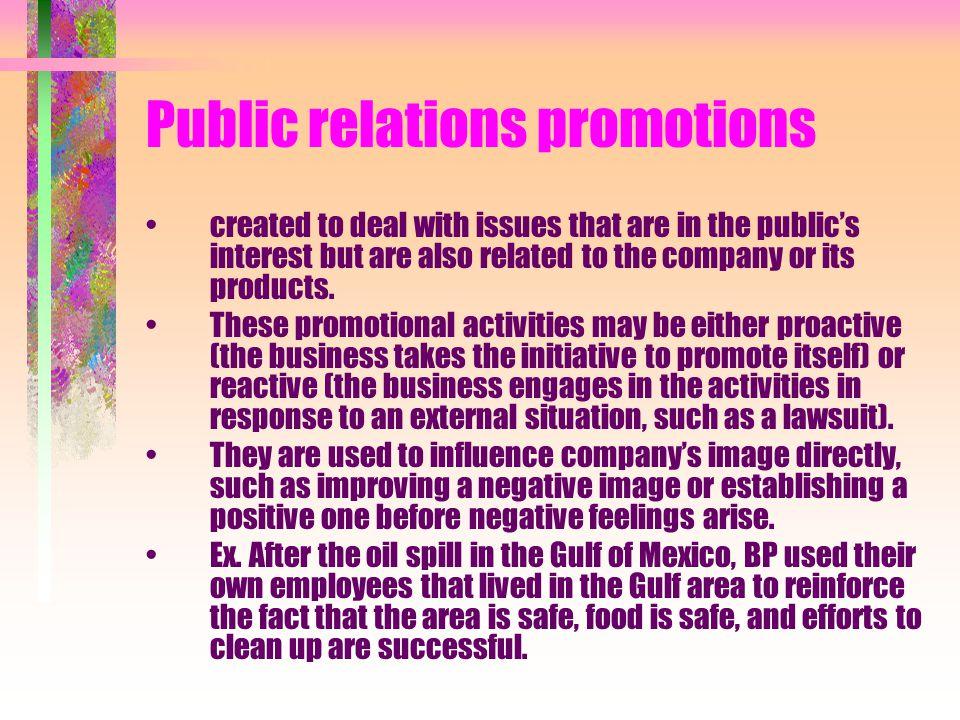 Public relations promotions