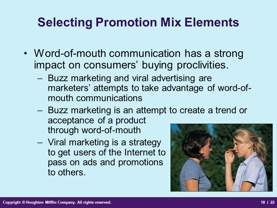 Selecting Promotion Mix Elements