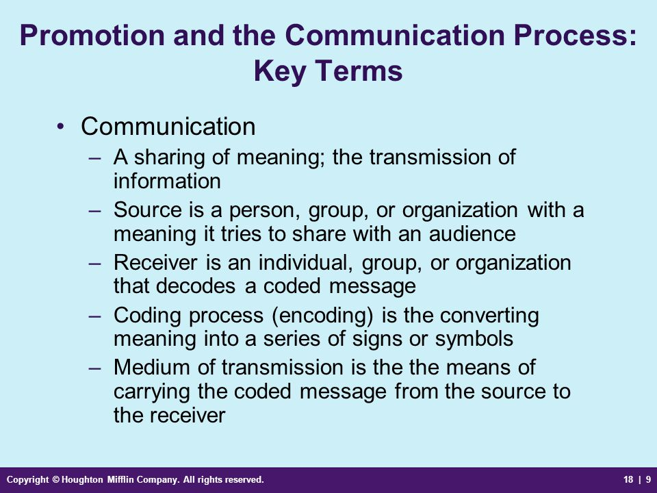 Promotion and the Communication Process: Key Terms