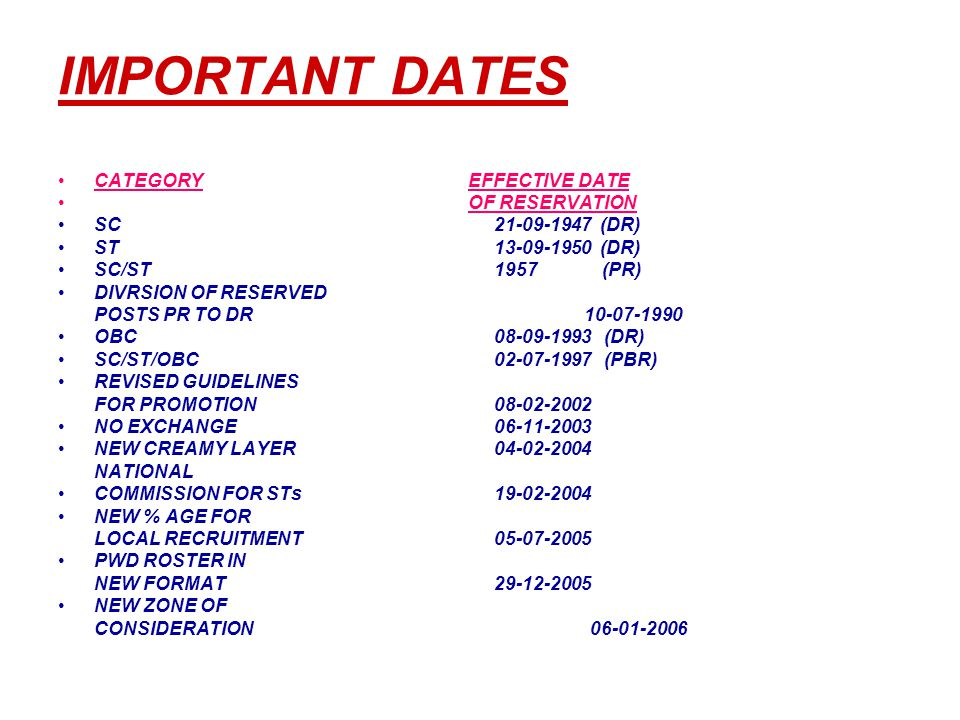 IMPORTANT DATES CATEGORY EFFECTIVE DATE OF RESERVATION