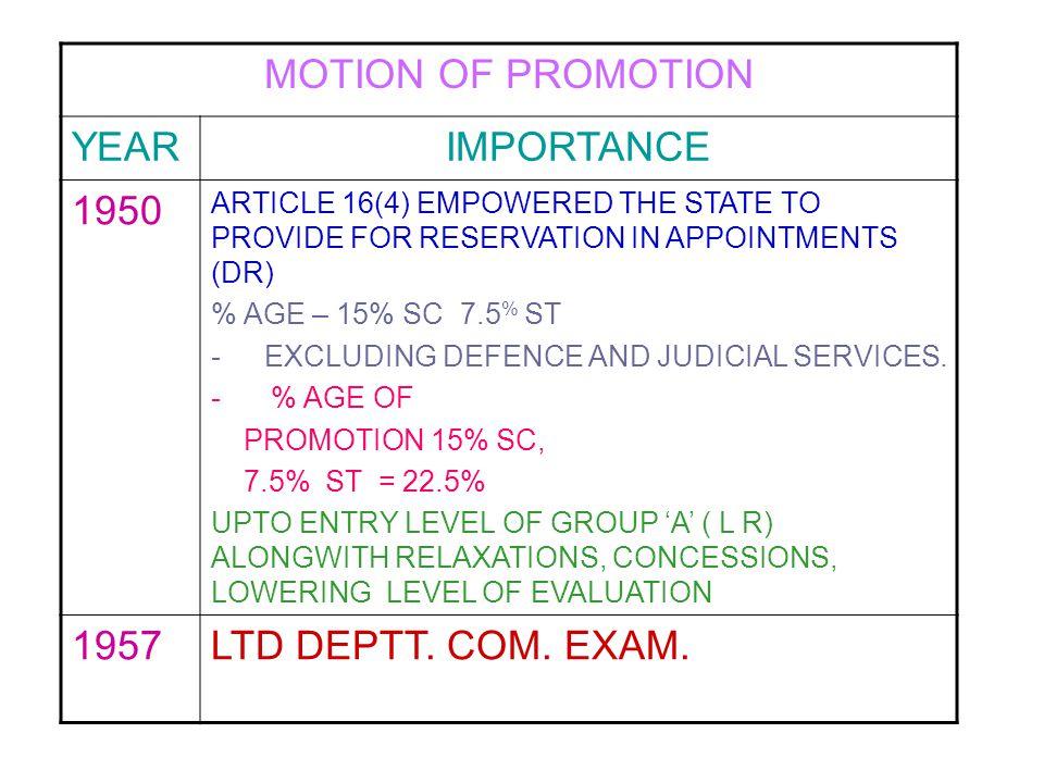 MOTION OF PROMOTION YEAR IMPORTANCE 1950 1957 LTD DEPTT. COM. EXAM.