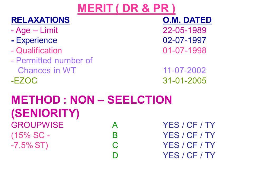 METHOD : NON – SEELCTION (SENIORITY)