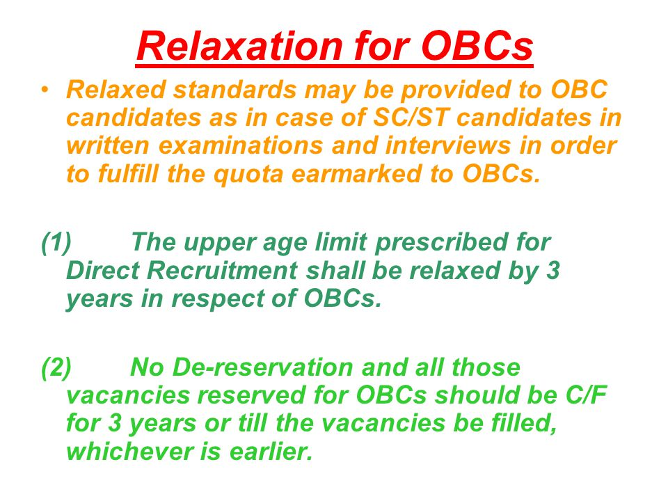 Relaxation for OBCs