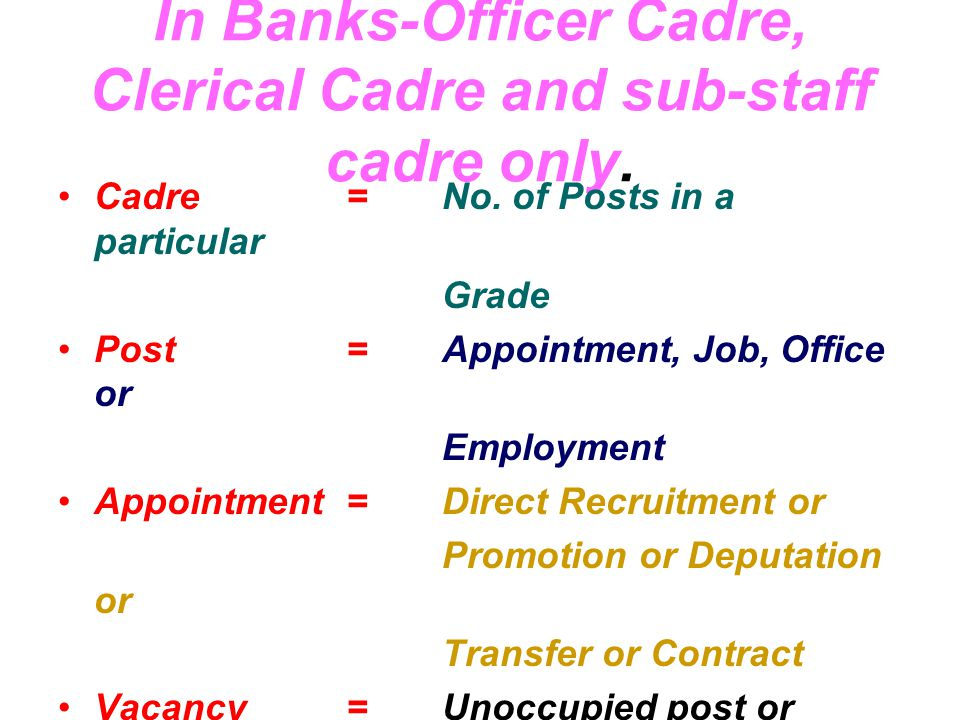 In Banks-Officer Cadre, Clerical Cadre and sub-staff cadre only.