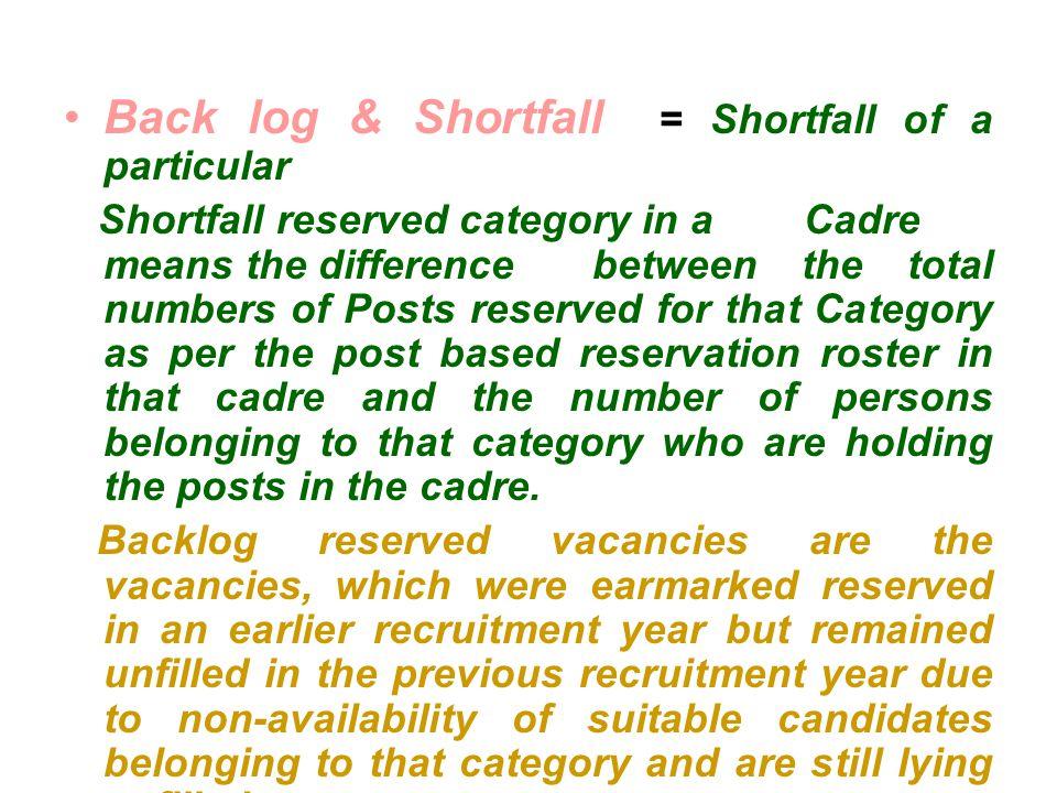 Back log & Shortfall = Shortfall of a particular