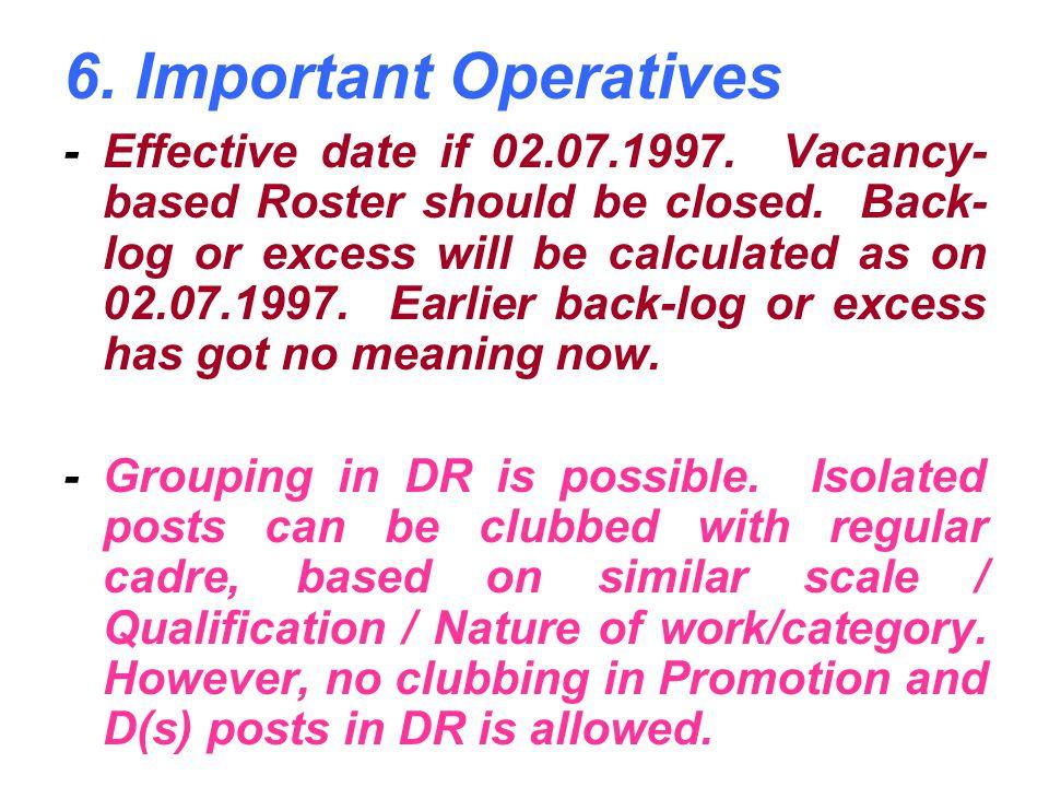 6. Important Operatives