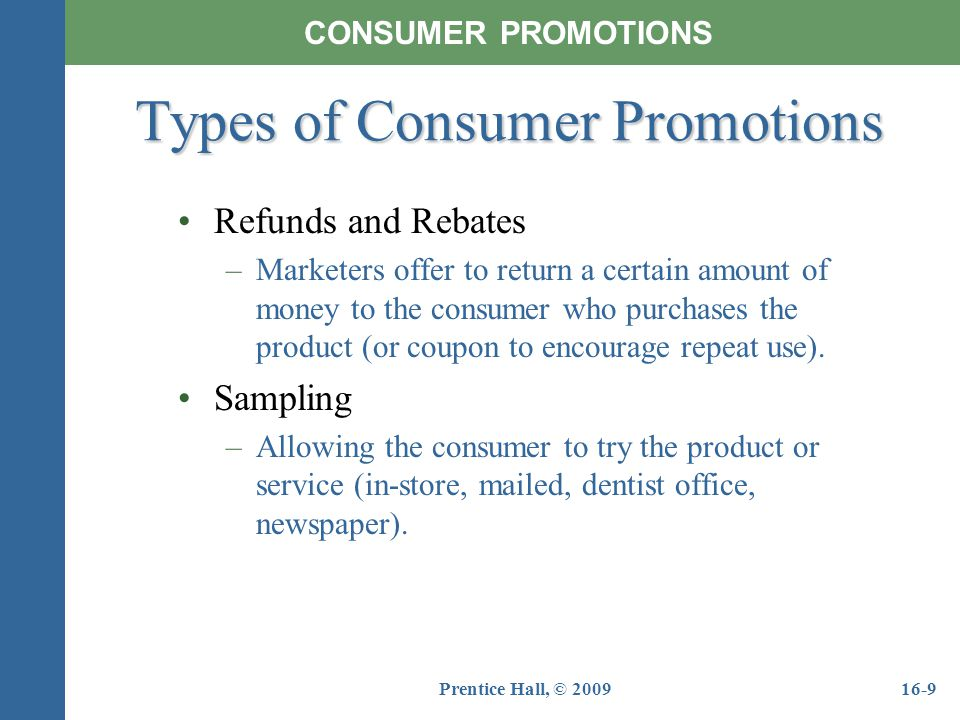 Types of Consumer Promotions