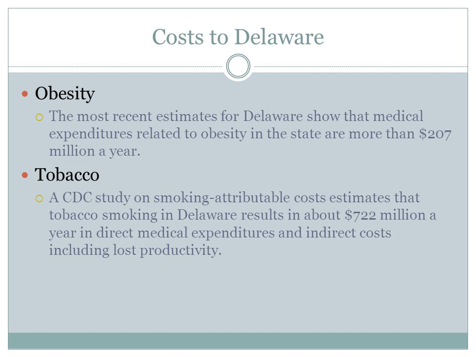 Costs to Delaware Obesity Tobacco