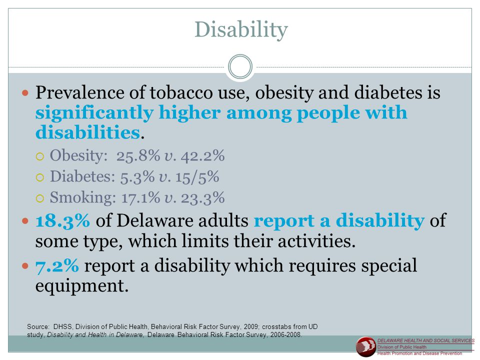 Disability Prevalence of tobacco use, obesity and diabetes is significantly higher among people with disabilities.