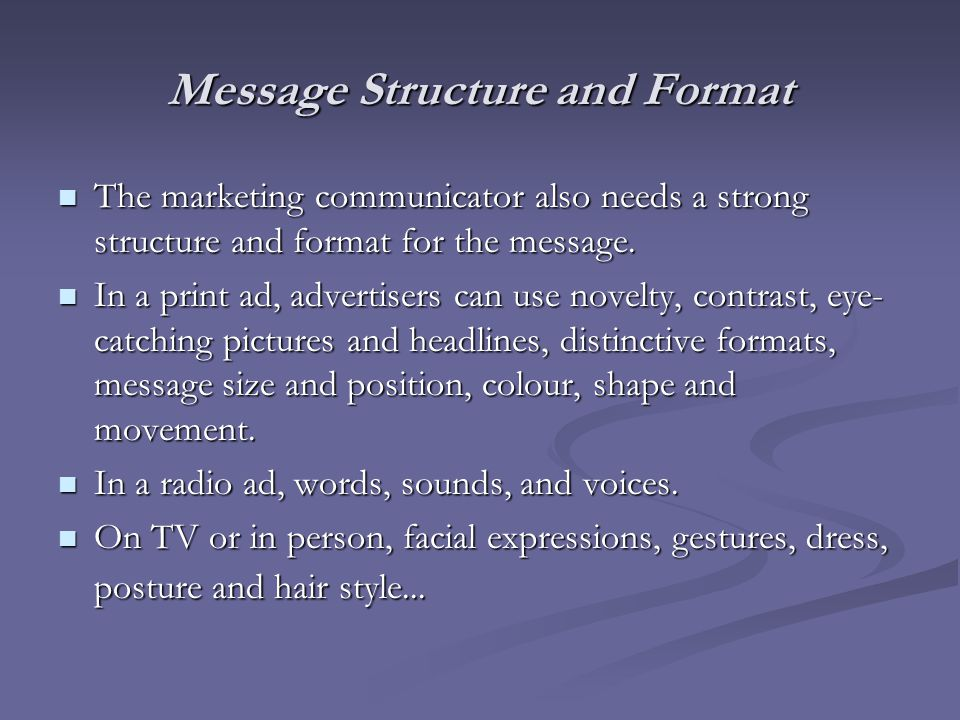 Message Structure and Format