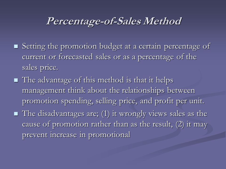 Percentage-of-Sales Method