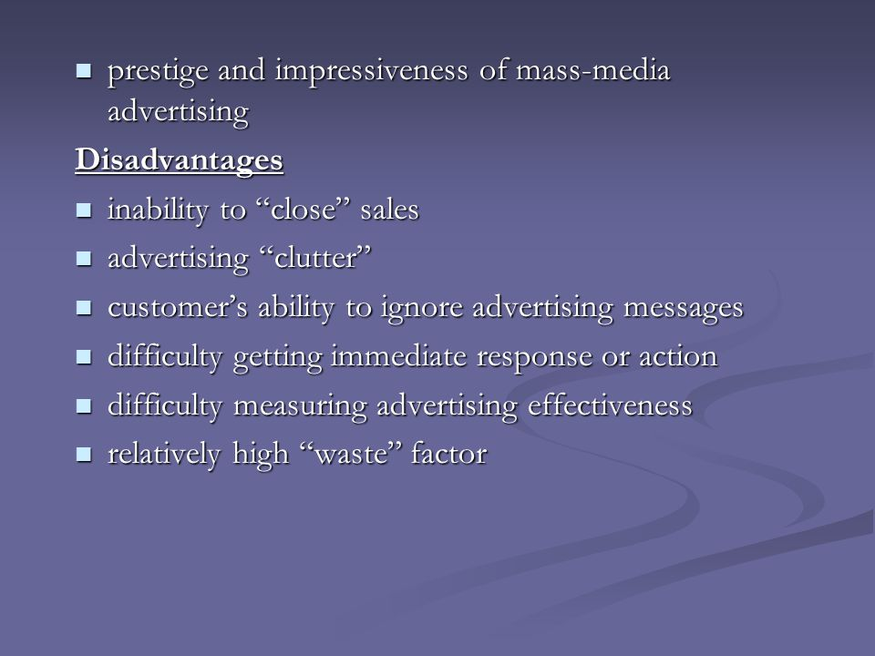 prestige and impressiveness of mass-media advertising