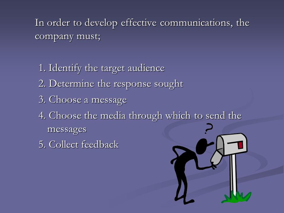 In order to develop effective communications, the company must;