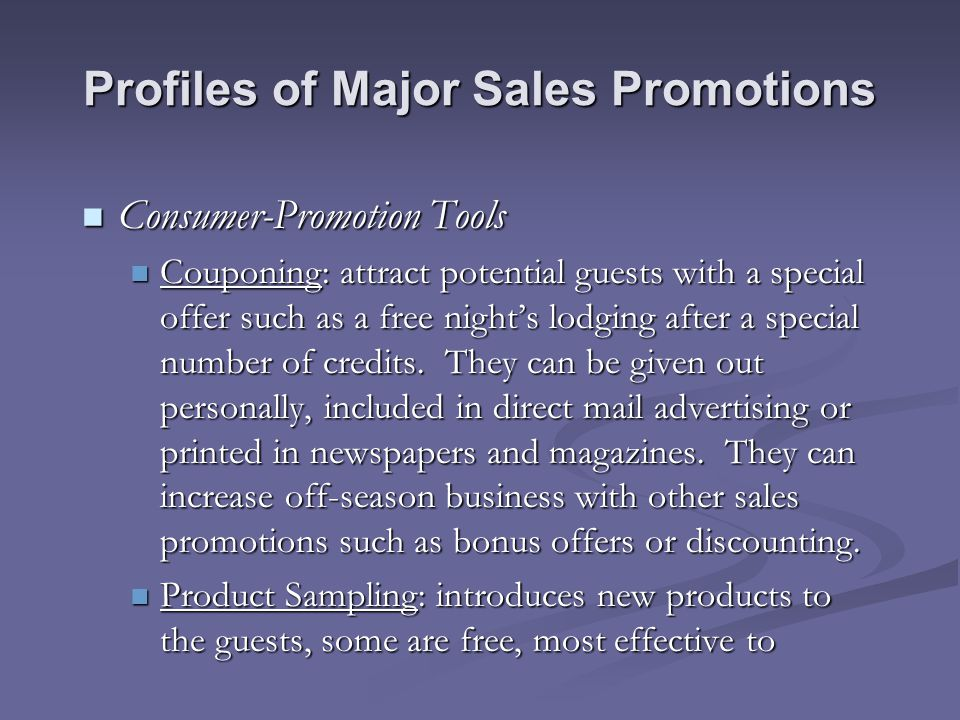 Profiles of Major Sales Promotions