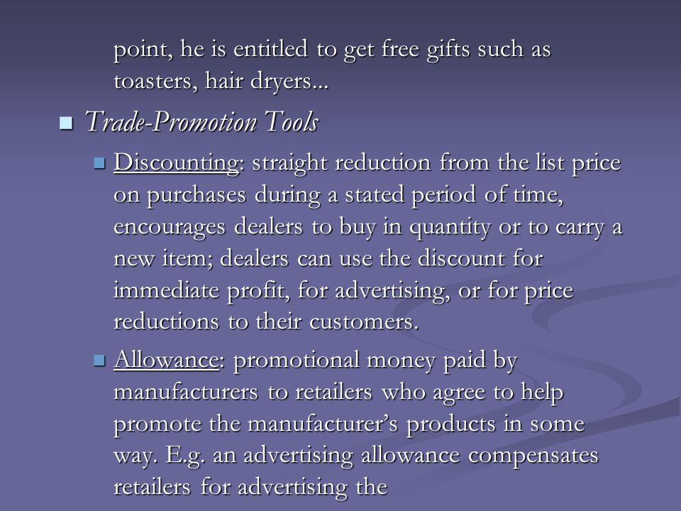 Trade-Promotion Tools