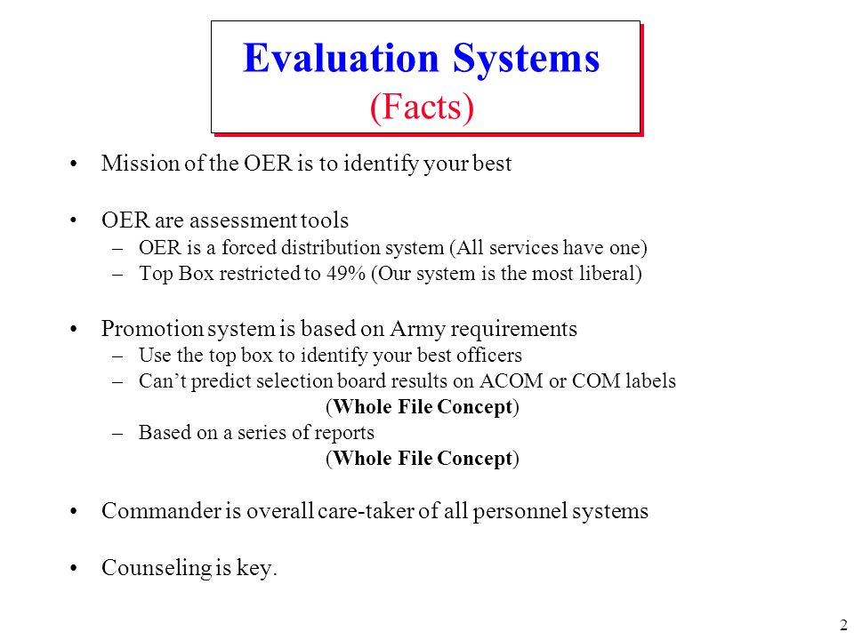 Evaluation Systems (Facts)