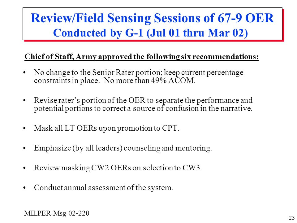 Review/Field Sensing Sessions of 67-9 OER Conducted by G-1 (Jul 01 thru Mar 02)