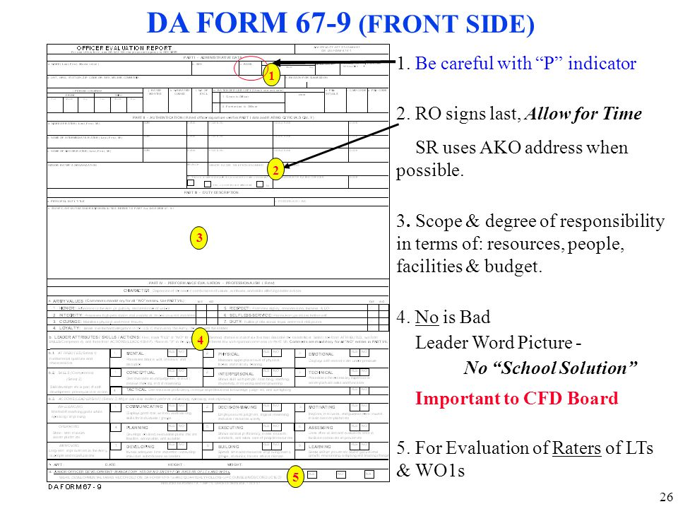 DA FORM 67-9 (FRONT SIDE) 1. Be careful with P indicator