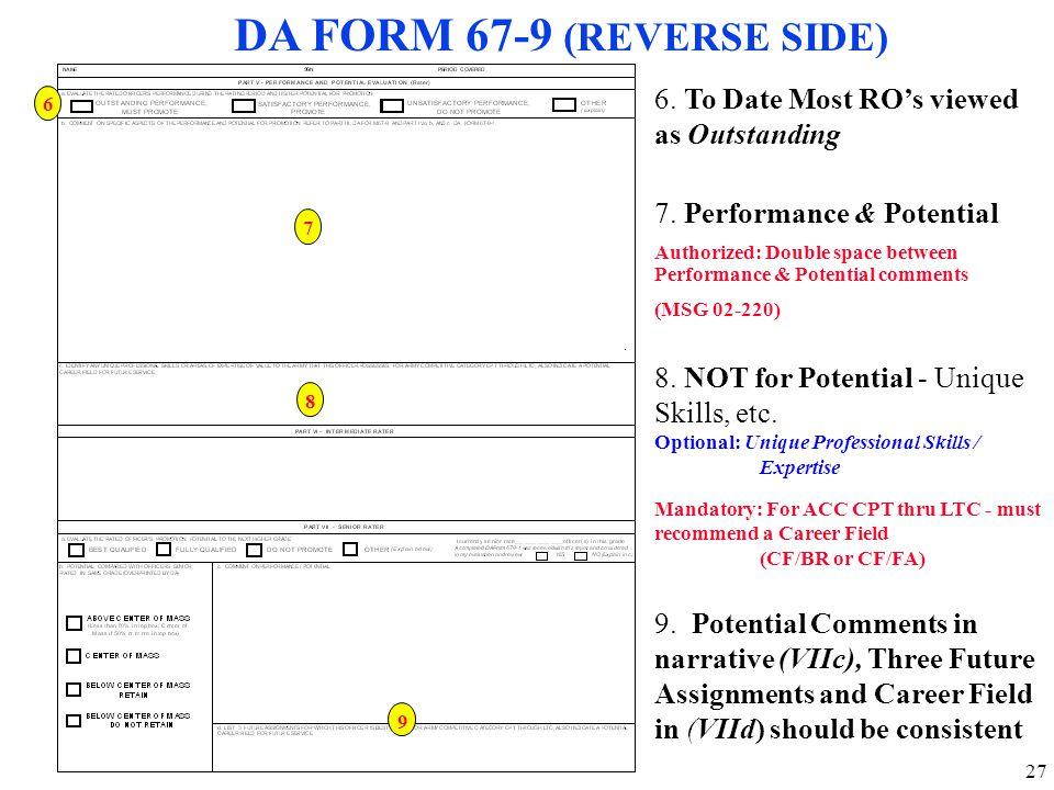 DA FORM 67-9 (REVERSE SIDE)