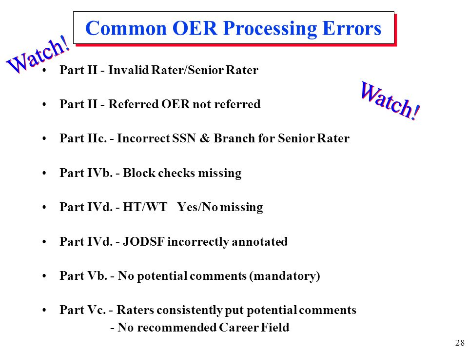 Common OER Processing Errors