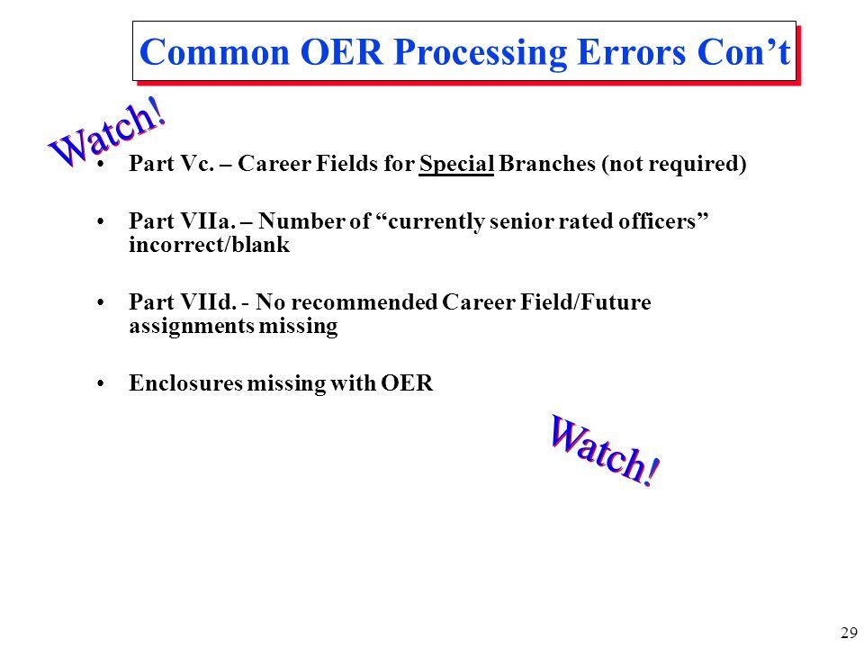 Common OER Processing Errors Con't