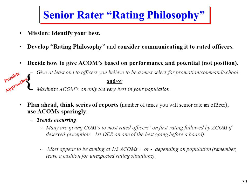Senior Rater Rating Philosophy
