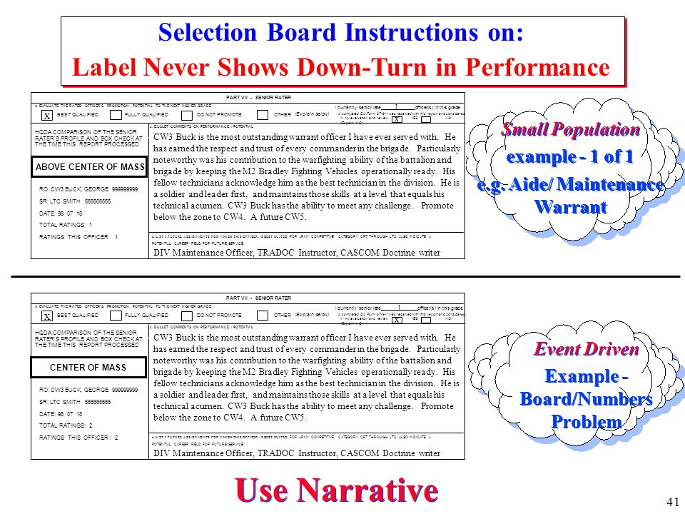 Use Narrative Selection Board Instructions on: