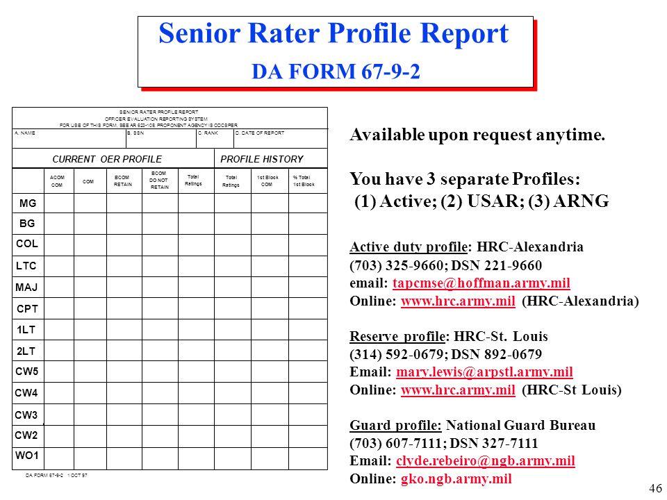 Senior Rater Profile Report