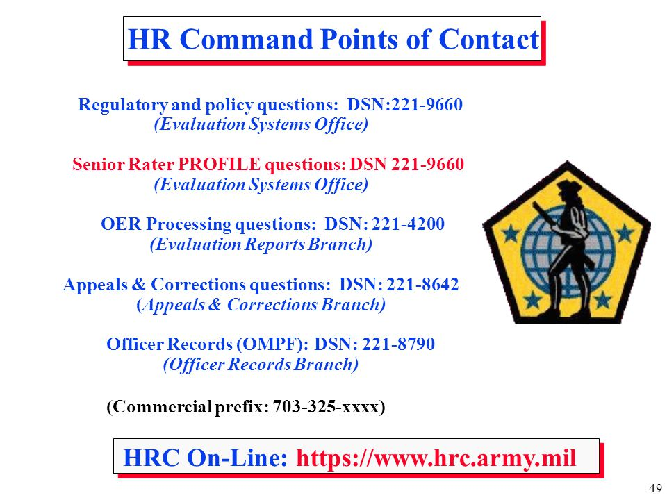 HR Command Points of Contact