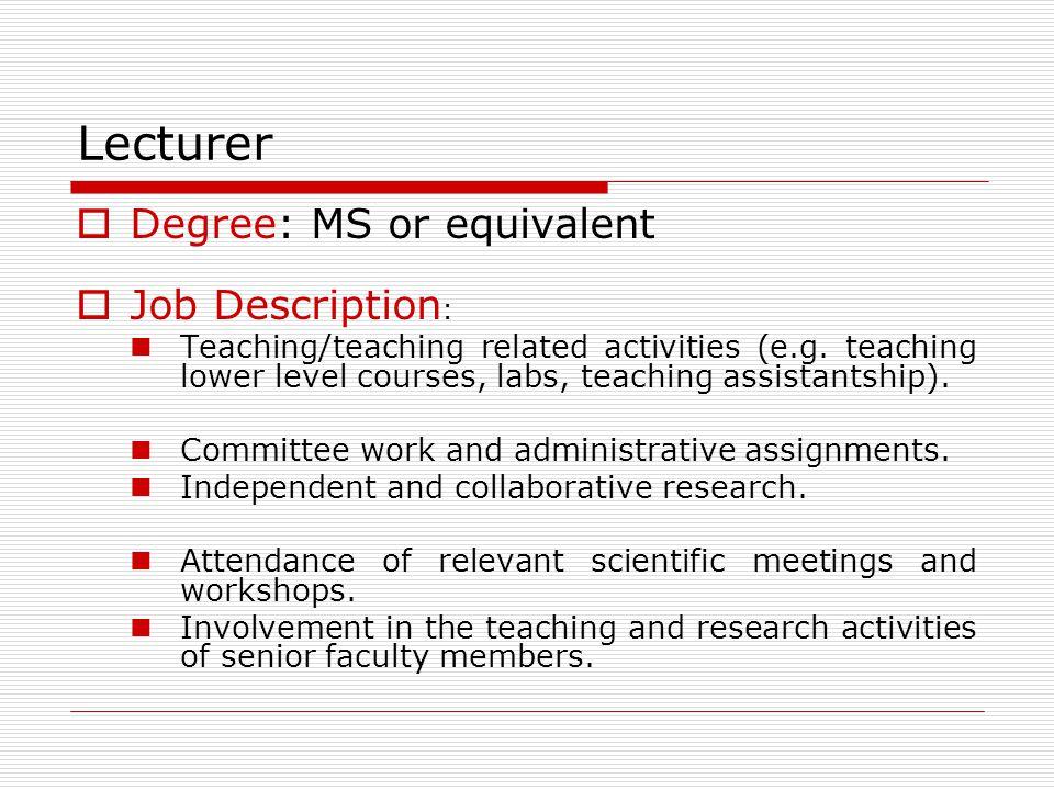 Lecturer Degree: MS or equivalent Job Description: