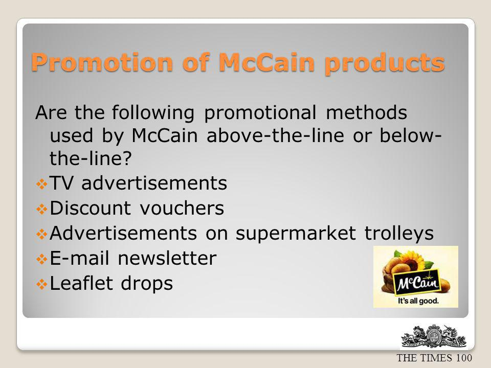 Promotion of McCain products