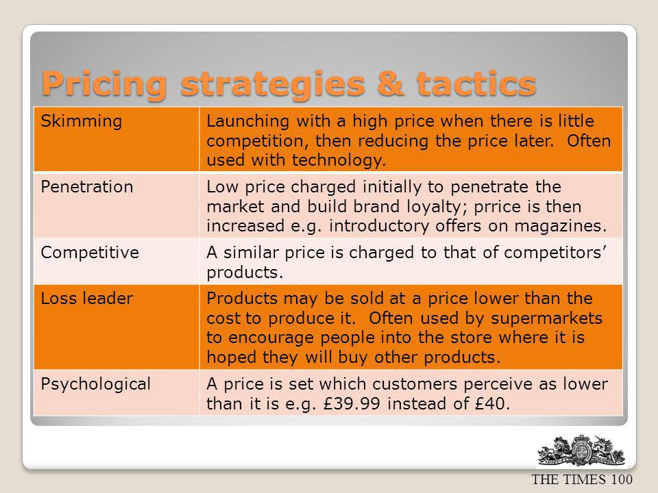 Pricing strategies & tactics