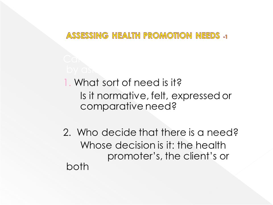 ASSESSING HEALTH PROMOTION NEEDS -1
